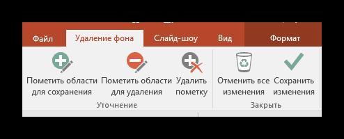 Панель инструментов для удаления фона в PowerPoint
