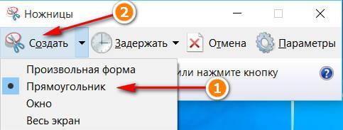 """В инструменте """"Ножницы"""" выберите тип выделения - Прямоугольник и затем """"Создать"""""""