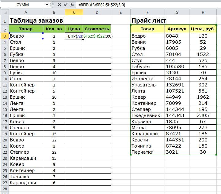 Excel - Формула VLOOKUP