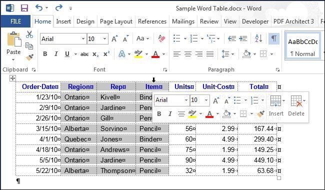 Как выделить таблицу в Word