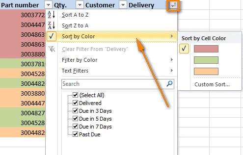 Сортировка и фильтрация по цвету в Excel