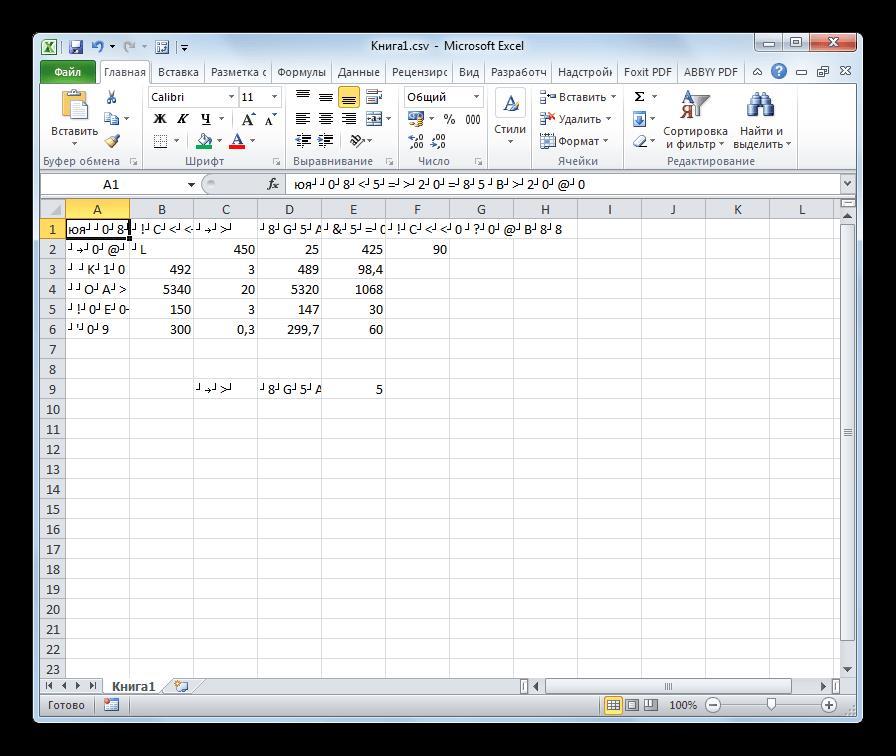 Некорректные символы в Microsoft Excel