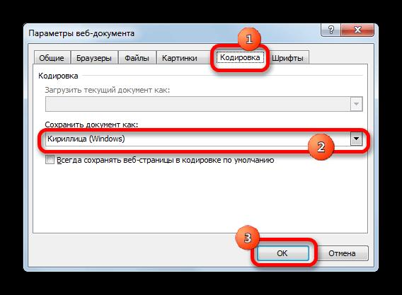 Параметры веб-документа в Microsoft Excel