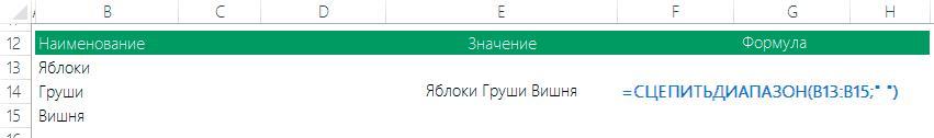 Пример 1 функции СЦЕПИТЬДИАПАЗОН