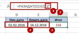 Function RAZNDAT 2 Как определяется разница между двумя датами с помощью функции РАЗНДАТ