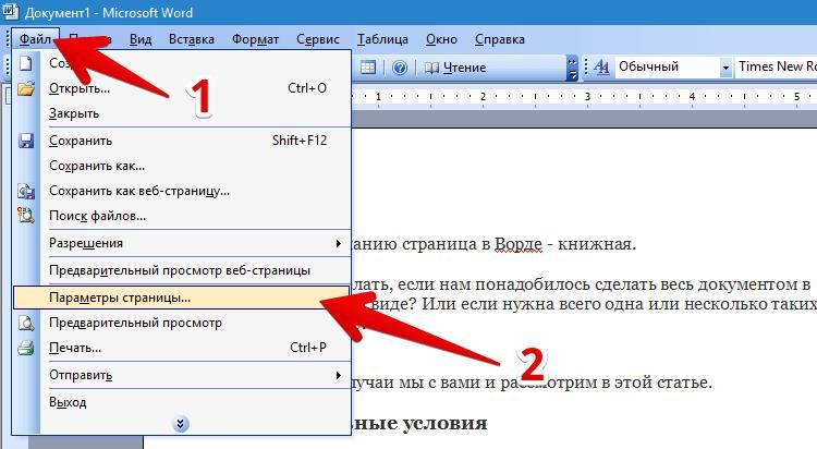 Горизонтальная ориентация в Word 2003